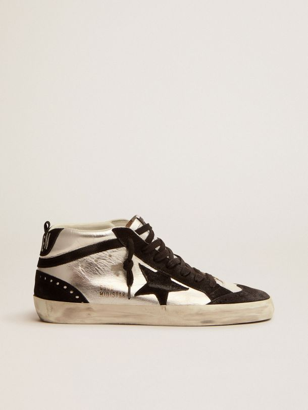 Golden Goose - Mid Star LTD sneakers in silver laminated leather and black suede in