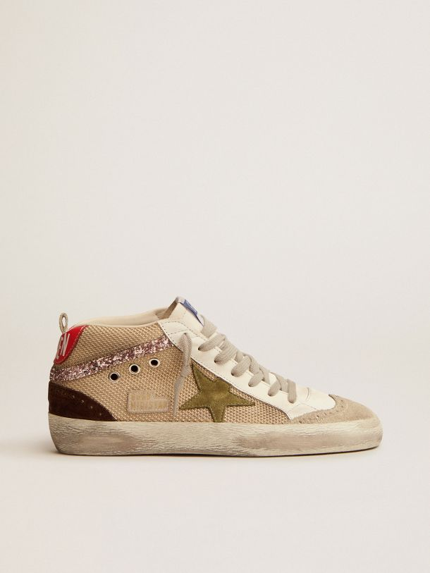 Golden Goose - Mid Star sneakers in cream-colored mesh with suede and glitter details in