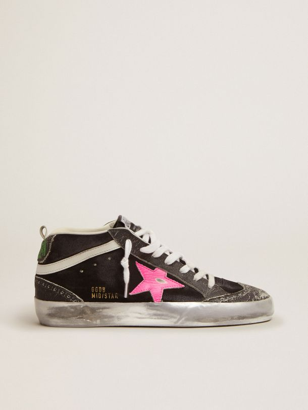Golden Goose - Mid Star sneakers in black suede with crackle leather details in