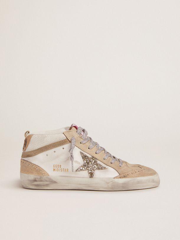 Golden Goose - Sneaker Mid Star LTD con stella in glitter verde chiaro e inserto in pelle pitonata in