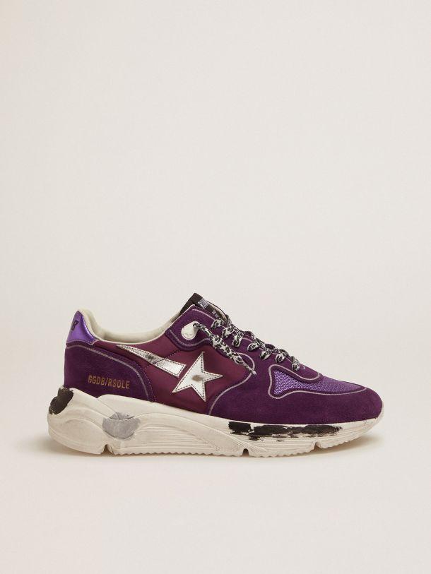 Golden Goose - Sneakers Running Sole en daim, cuir et mesh avec contrefort violet métallisé   in