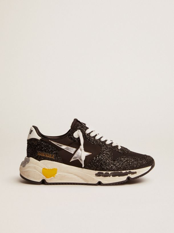 Golden Goose - Running Sole sneakers in black nylon and glitter with silver laminated leather star in