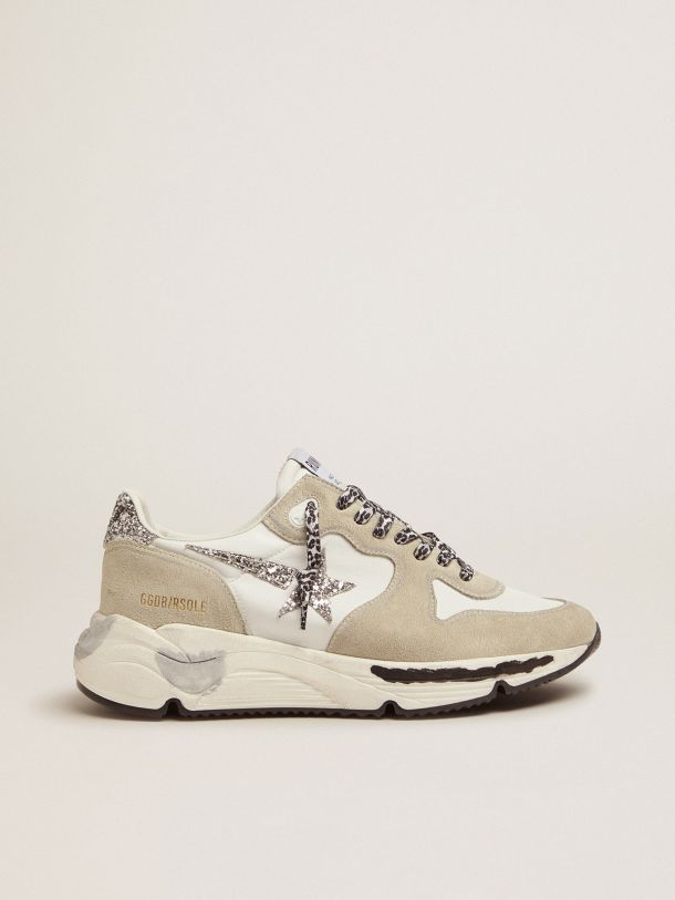 Golden Goose - Running Sole in nylon and suede with glitter Golden star in