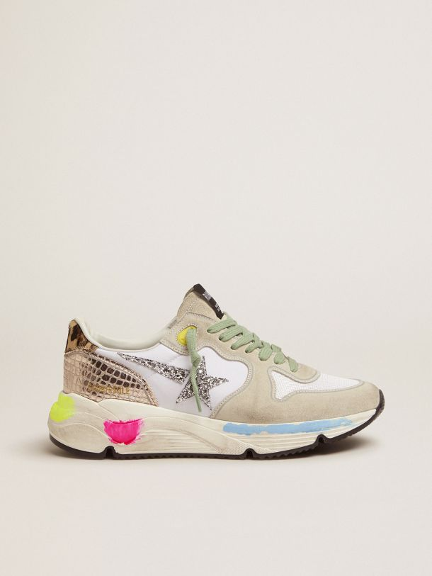 Golden Goose - Running Sole sneakers in suede with glitter and leopard print in