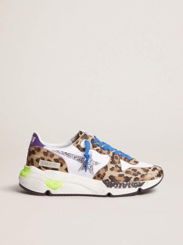 Golden Goose - Sneakers Running Sole en cuir façon poulain à imprimé léopard in