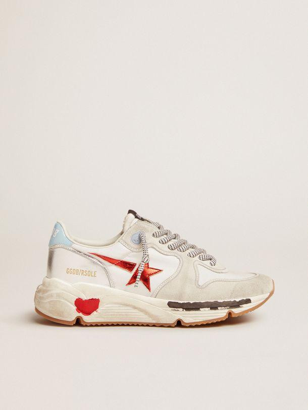 Golden Goose - Sneakers Running Sole en nylon et daim avec étoile rouge en cuir lamé in