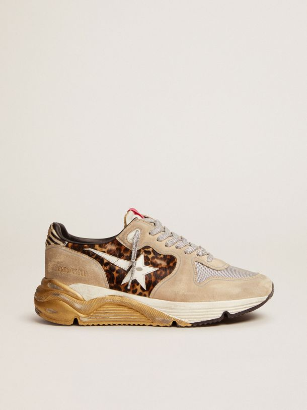 Golden Goose - Running Sole LTD sneakers in leopard-print pony skin and suede with mesh insert in