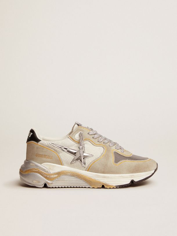 Golden Goose - Running Sole LTD sneakers in white snake-print leather and suede with mesh insert in