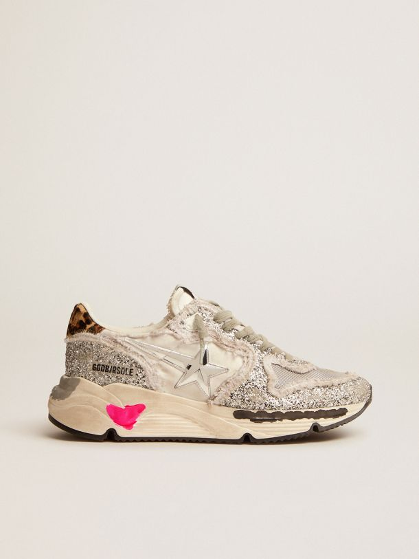Golden Goose - Running Sole sneakers in nylon and silver glitter with leopard-print pony skin heel tab in