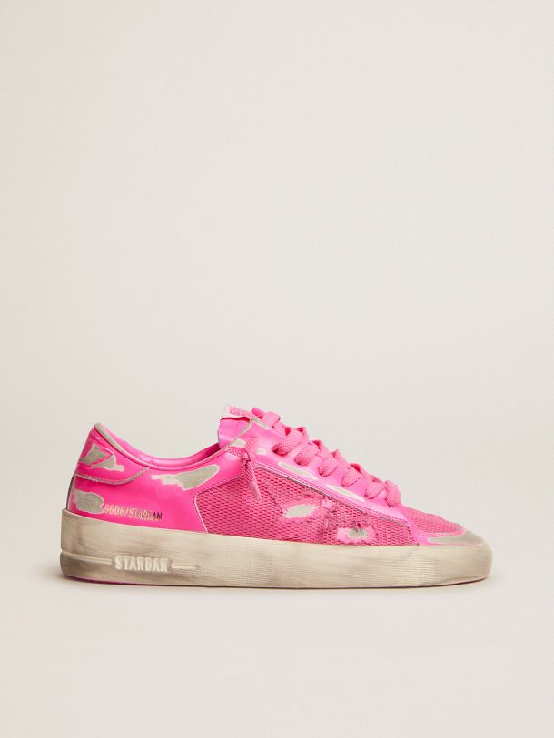 Golden Goose - Stardan sneakers in fluorescent pink leather and mesh in