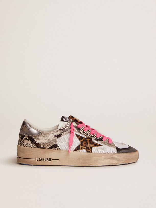 Golden Goose - Stardan LAB sneakers with snake-print leather upper and leopard-print pony skin star in