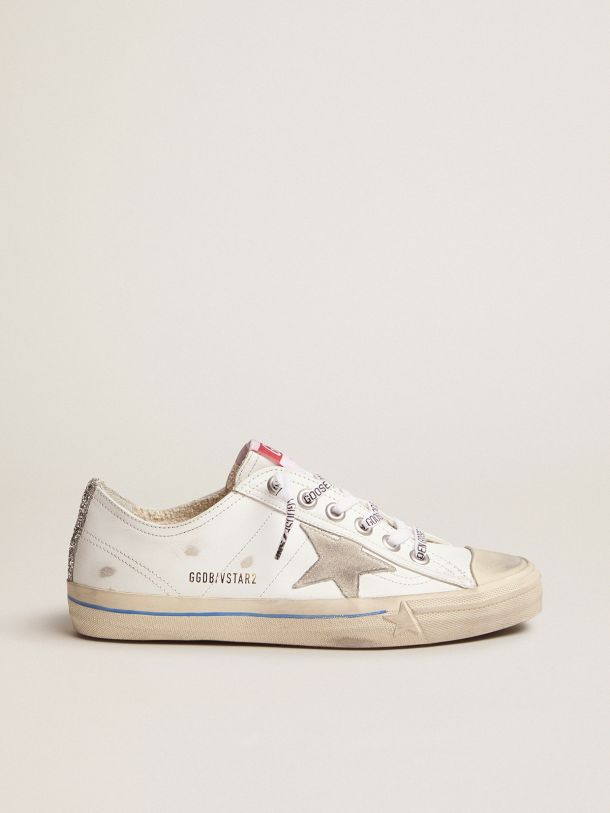 Golden Goose - White leather V-Star sneakers with glittery vertical strip in