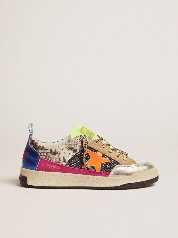 Golden Goose - Women's snakeskin-print Yeah sneakers with orange star in