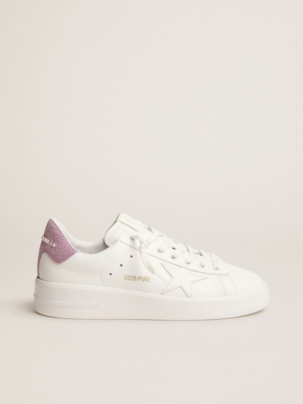 Purestar sneakers in white leather with pink glitter heel tab