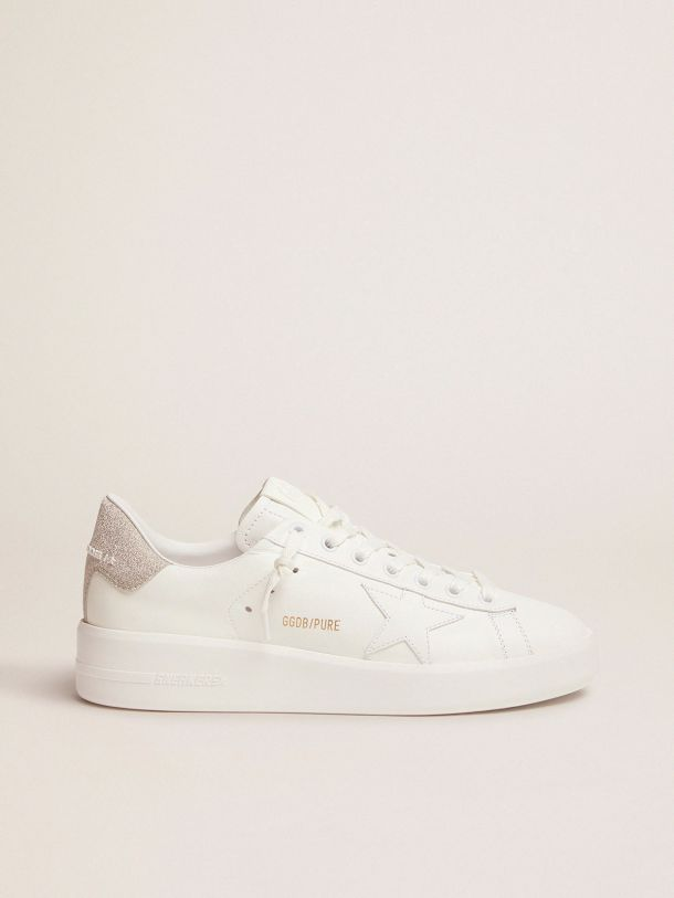 Purestar sneakers in white leather with champagne glitter heel tab