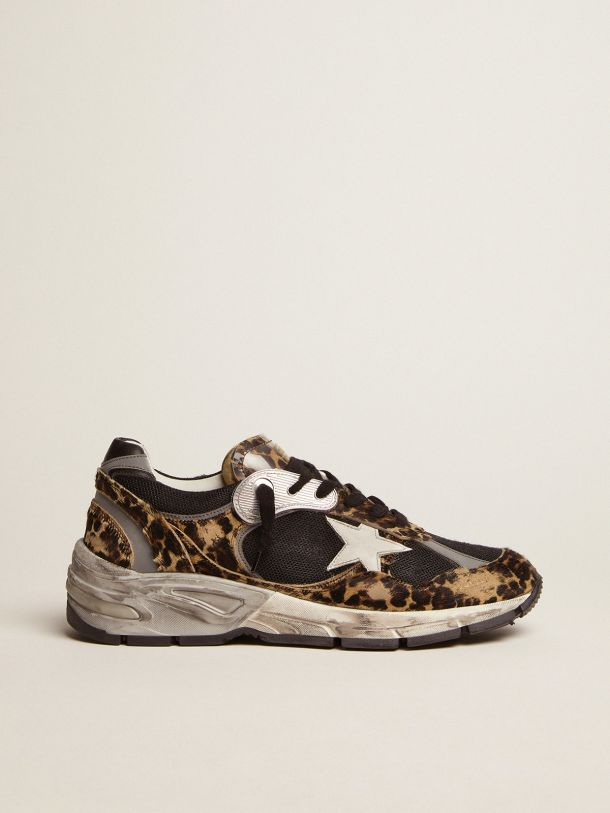 Golden Goose - Dad-Star sneakers in leopard-print pony skin with white leather star in