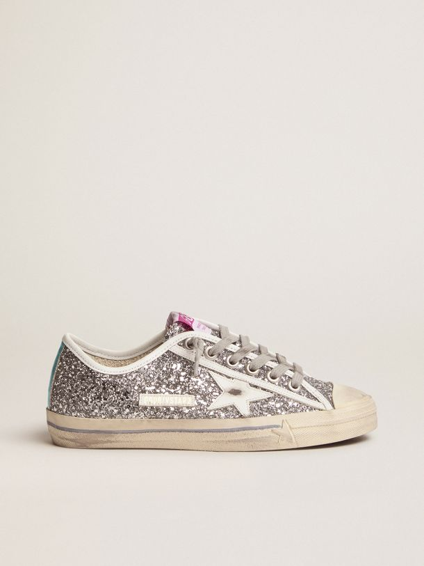 Golden Goose - V-Star sneakers with silver glitter in