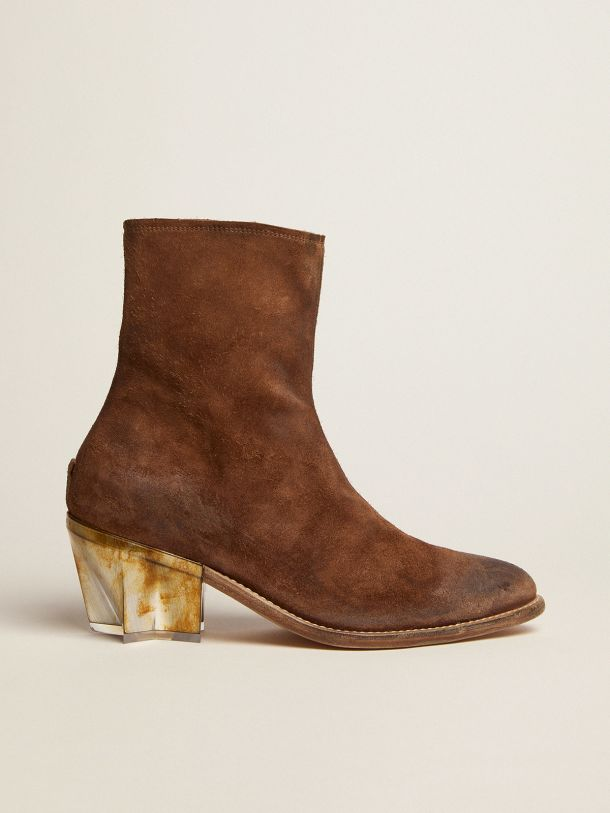 Star boots in brown waxed suede with sculptured heel with a metallic finish