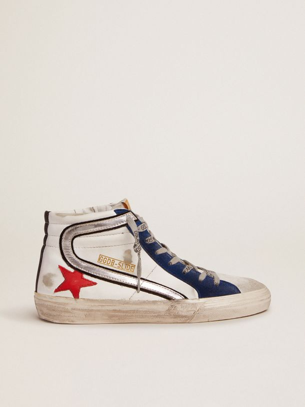 Golden Goose - Slide sneakers in white leather with red leather star in