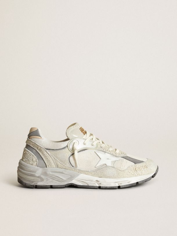 Golden Goose - Dad-Star sneakers in white and gray suede with white leather star in