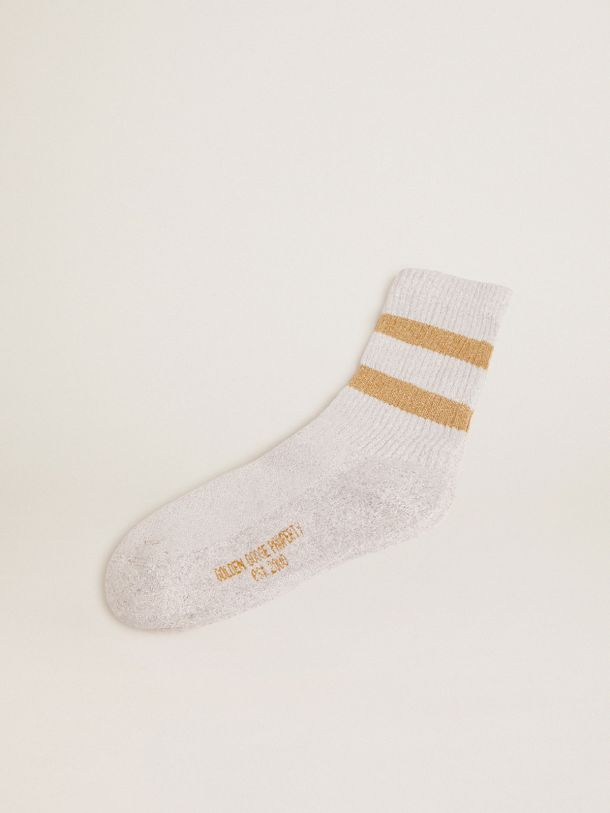 Golden Goose - White socks in lurex with contrasting gold stripes and logo in