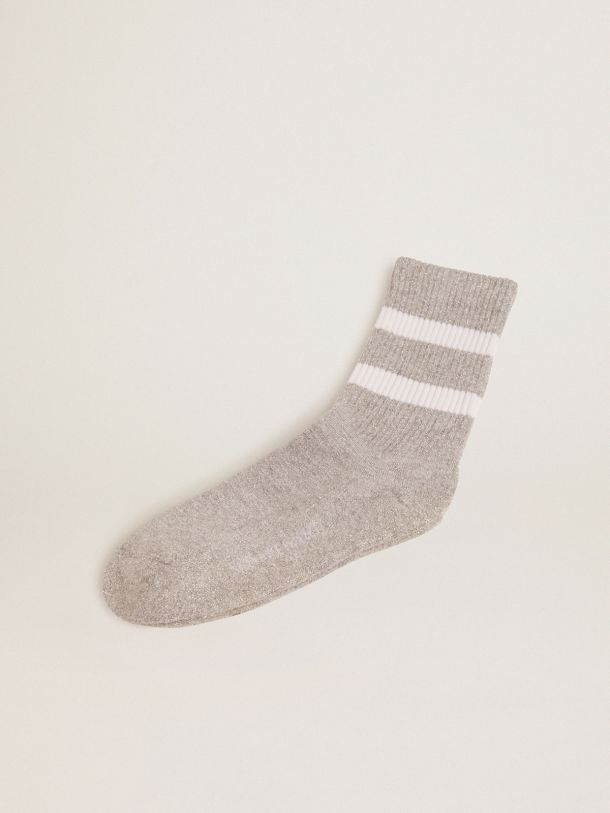 Golden Goose - Gray socks with lurex ribbed weave, contrasting stripes and logo in