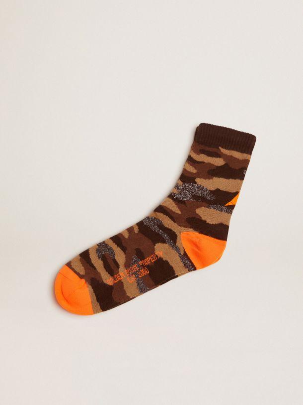 Golden Goose - Camouflage-print socks with dark grey lurex inserts and fluorescent orange details in