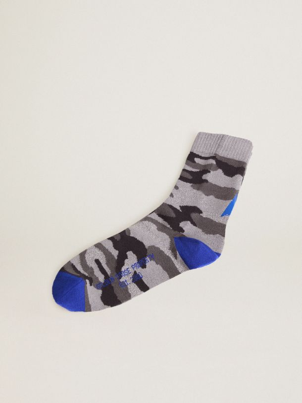 Golden Goose - Camouflage-print socks with light grey lurex inserts and royal blue details in