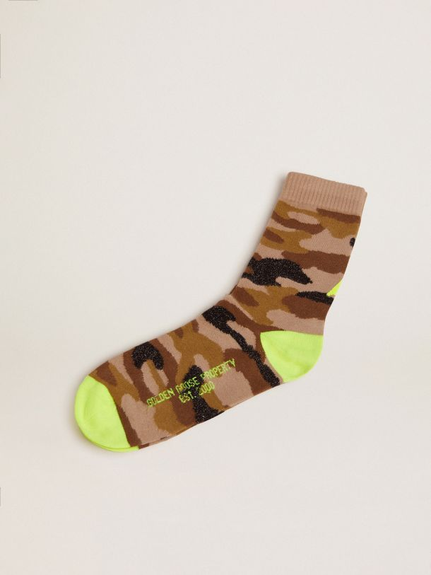 Golden Goose - Camouflage-print socks with black lurex inserts and fluorescent yellow details in