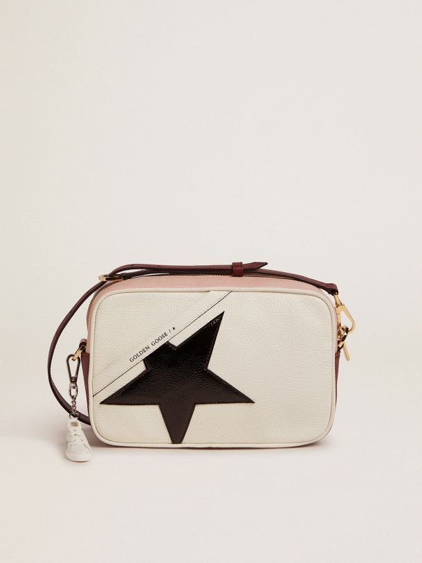 Golden Goose - White and pink Star Bag with black patent leather star in