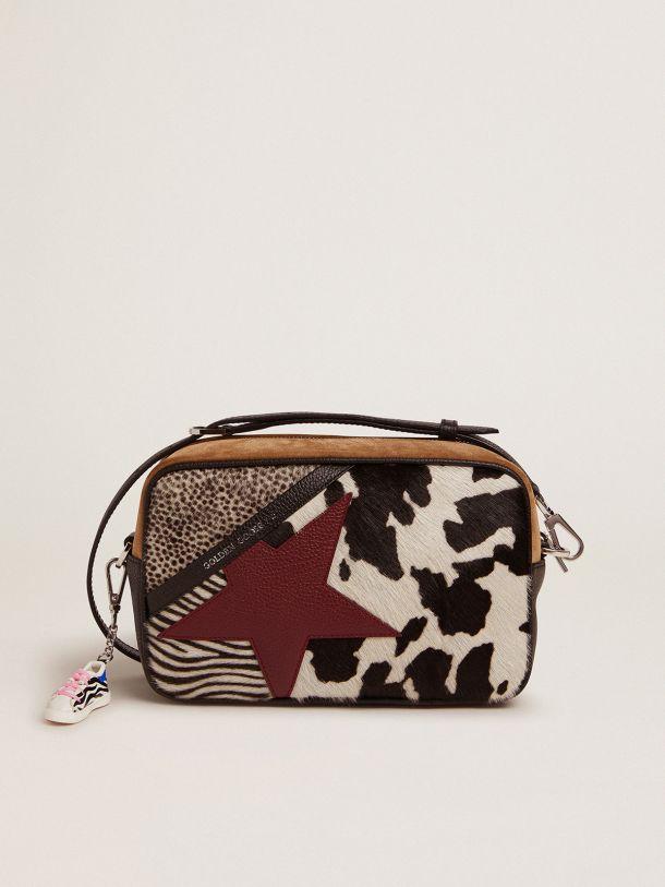 Golden Goose - Star Bag in animal-print pony skin and burgundy leather star in