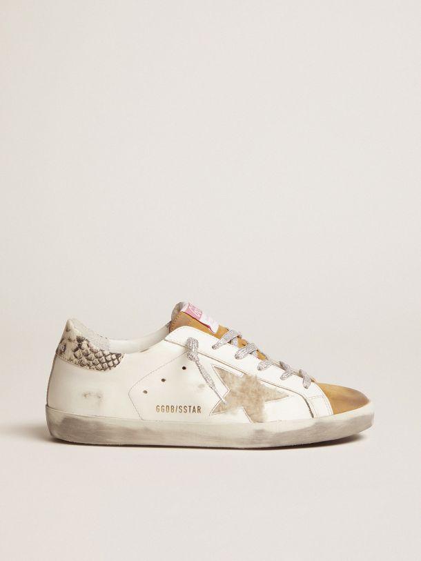 Golden Goose - Sneakers Super-Star in shearling con talloncino pitonato in