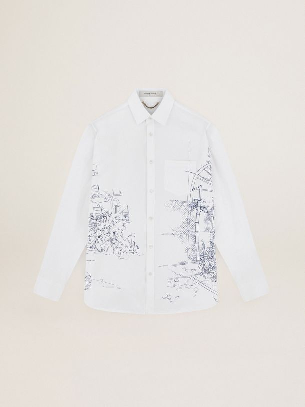 Poplin Journey Collection Alvise shirt with contrasting ink-blue decoration