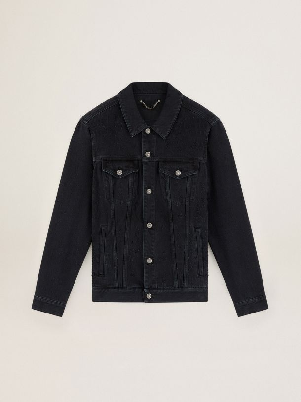 Journey Collection Agenore jacket in black needlepunch-effect cotton