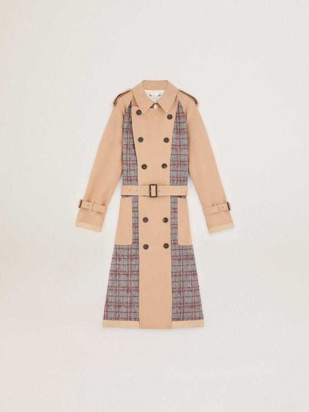 Journey Collection Dag trench coat with brushed wool inserts in a check pattern