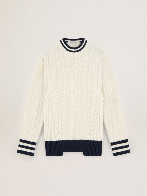 Golden Goose - 콘트라스팅 블루 디테일 화이트 저니 컬렉션 데본 스웨터 in