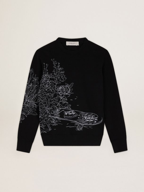 Golden Goose - Black Journey Collection Archibald sweatshirt with contrasting white embroidery in