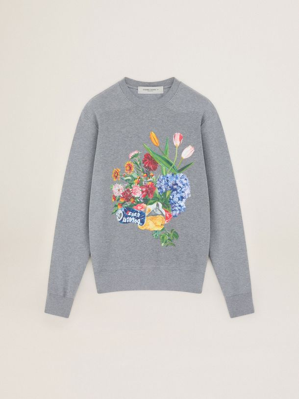 Golden Goose - Gray Journey Collection Archibald sweatshirt with colorful collage-style print in