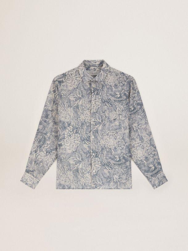 Golden Goose - Camicia Adam Capsule Collection Golden Resort in lino blu vintage con stampa toile de jouy bianca a contrasto in