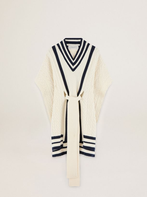 Oversize Journey Collection Dane cape in natural white-colored wool with contrasting blue details