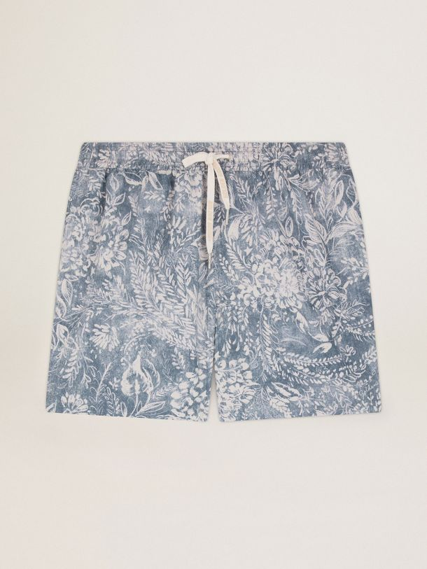 Golden Goose - Elvis Golden Resort Capsule Collection boxers in vintage blue with contrasting white toile de jouy print in