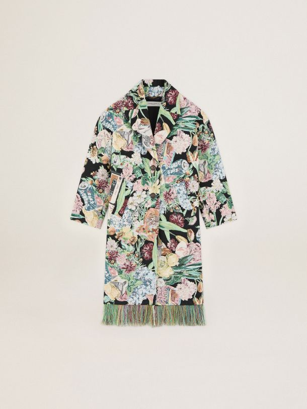 Golden Goose - Single-breasted Journey Collection Bertina jacquard coat with flower collage and fringes in