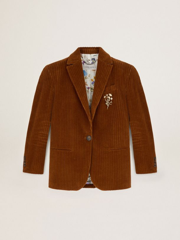 Terracotta-colored Journey Collection Bova single-breasted corduroy blazer