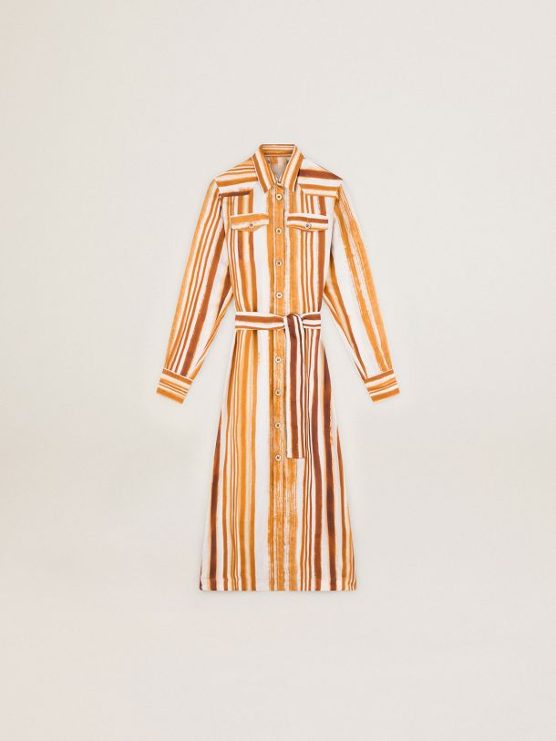 Golden Goose - Journey Collection Dana shirt dress with watercolor-effect vertical stripe print in