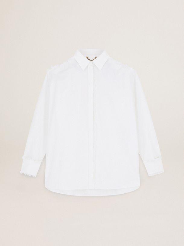 Oversize Journey Collection Davia shirt in white raw-edge poplin