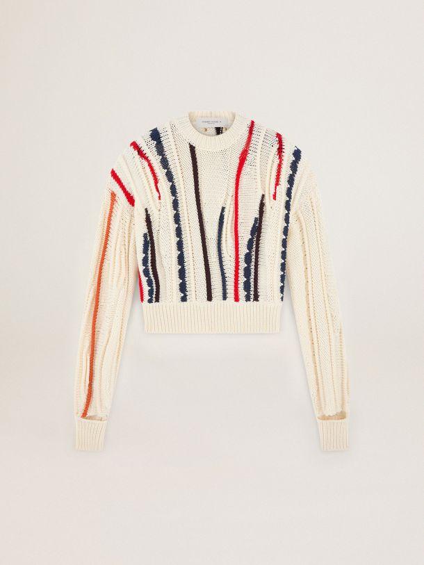 Maglione Dasha Collezione Journey di colore bianco con macro intarsi colorati