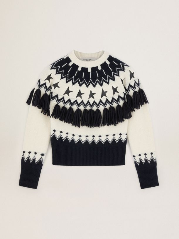 Golden Goose - Blue and white Journey Collection Deidra Fair Isle sweater in