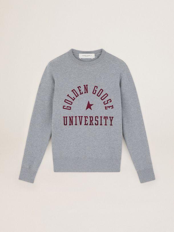 Sweat-shirt Athena collection Journey gris chiné avec logo bordeaux sur le devant