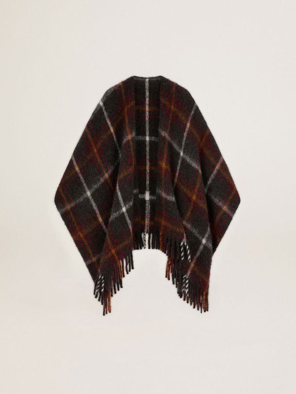 Golden Goose - Journey Collection Davie poncho in check pattern brushed wool in