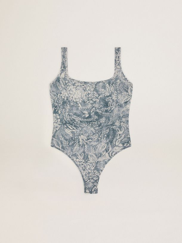 Golden Goose - Elvys Golden Resort Capsule Collection one-piece swimsuit in vintage blue with contrasting white toile de jouy print in
